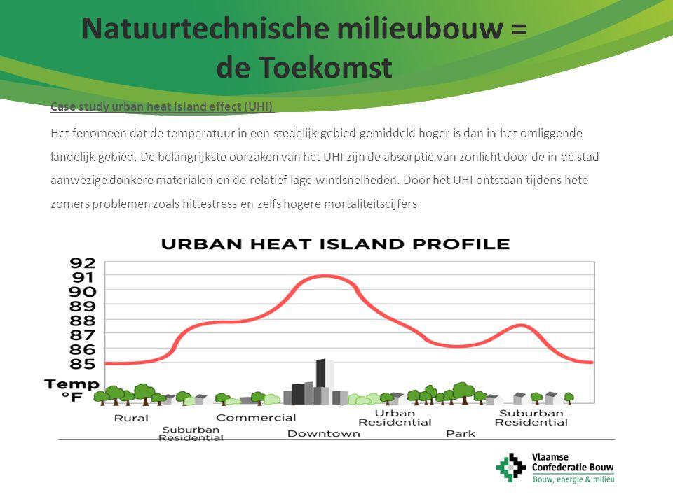 8 Case study urban heat island effect (UHI) Het fenomeen dat de temperatuur in een stedelijk gebied gemiddeld hoger is dan in het omliggende landelijk