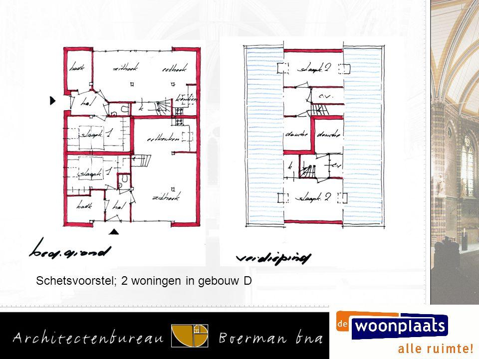 Schetsvoorstel; 2 woningen in gebouw D