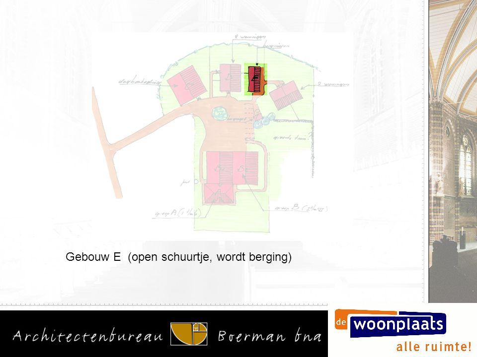 Gebouw E (open schuurtje, wordt berging)