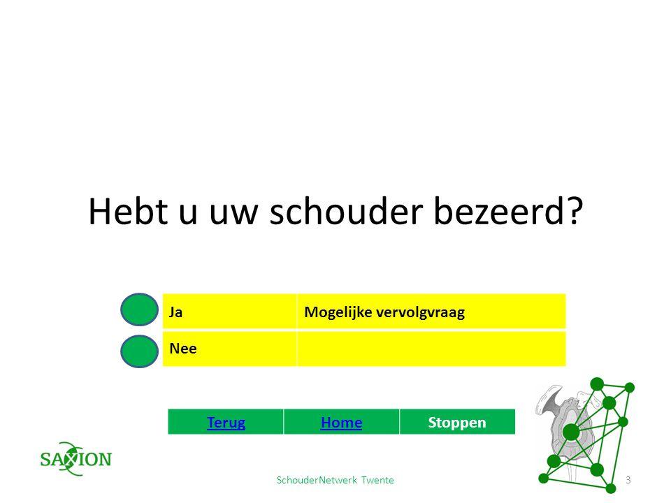 SchouderNetwerk Twente Hoe hebt u uw schouder bezeerd.