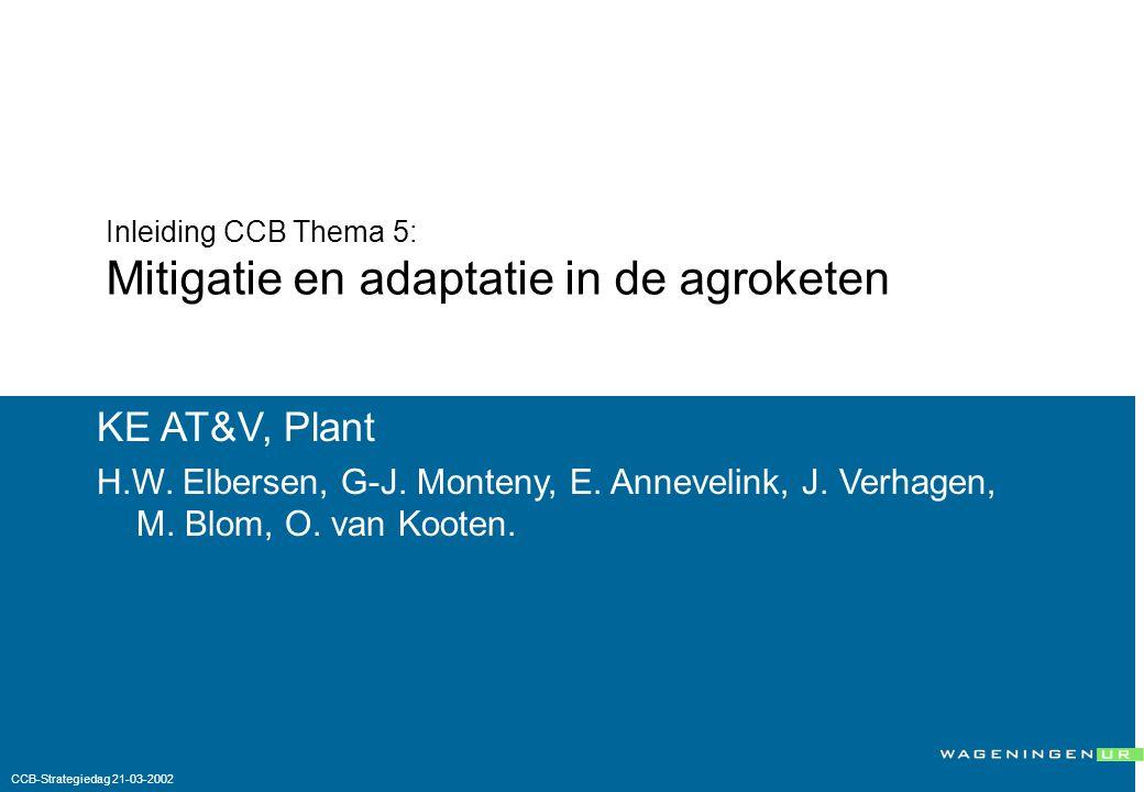 Inleiding CCB Thema 5: Mitigatie en adaptatie in de agroketen KE AT&V, Plant H.W.