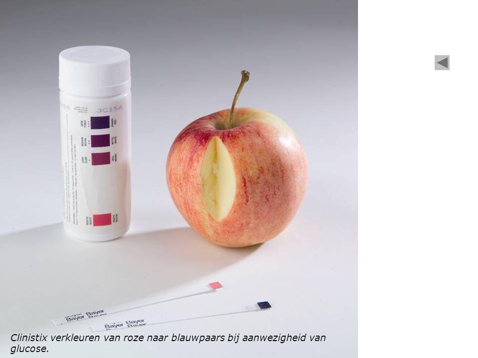 Clinistix verkleuren van roze naar blauwpaars bij aanwezigheid van glucose.