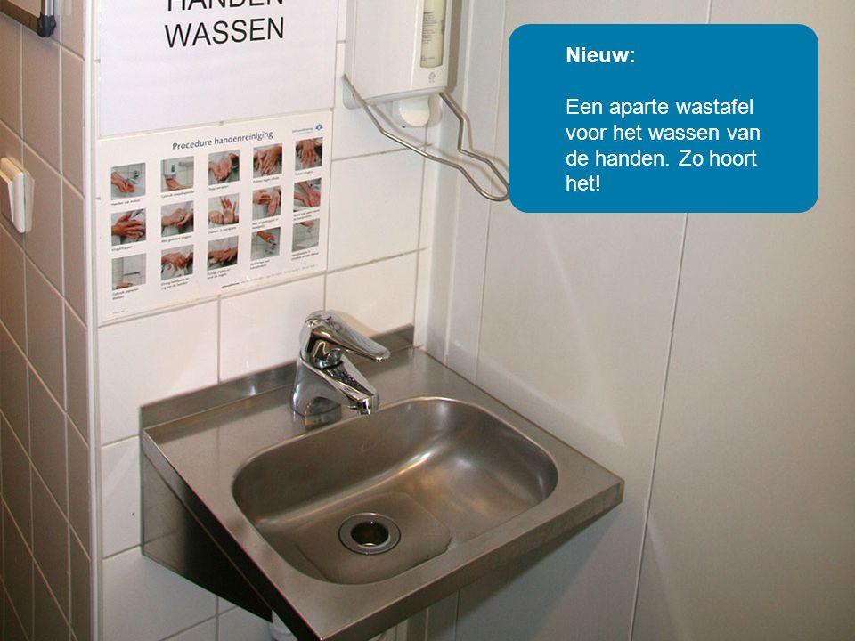 Oud: Deze kantinekeuken is ouderwets Nieuw: Een aparte wastafel voor het wassen van de handen.