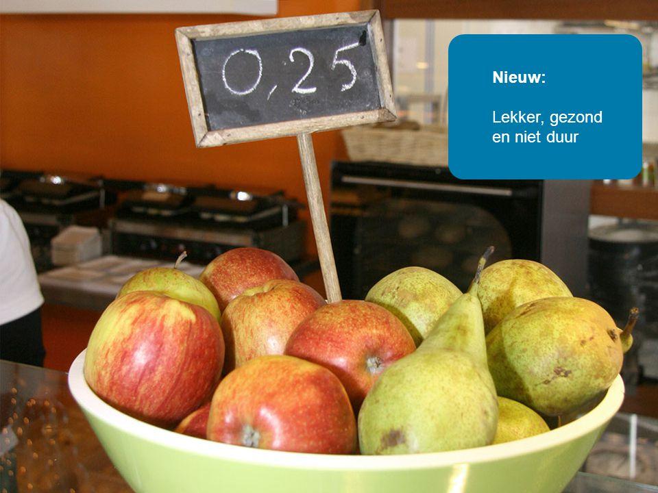 Oud: Roze en geel snoep met suiker Nieuw: Lekker, gezond en niet duur