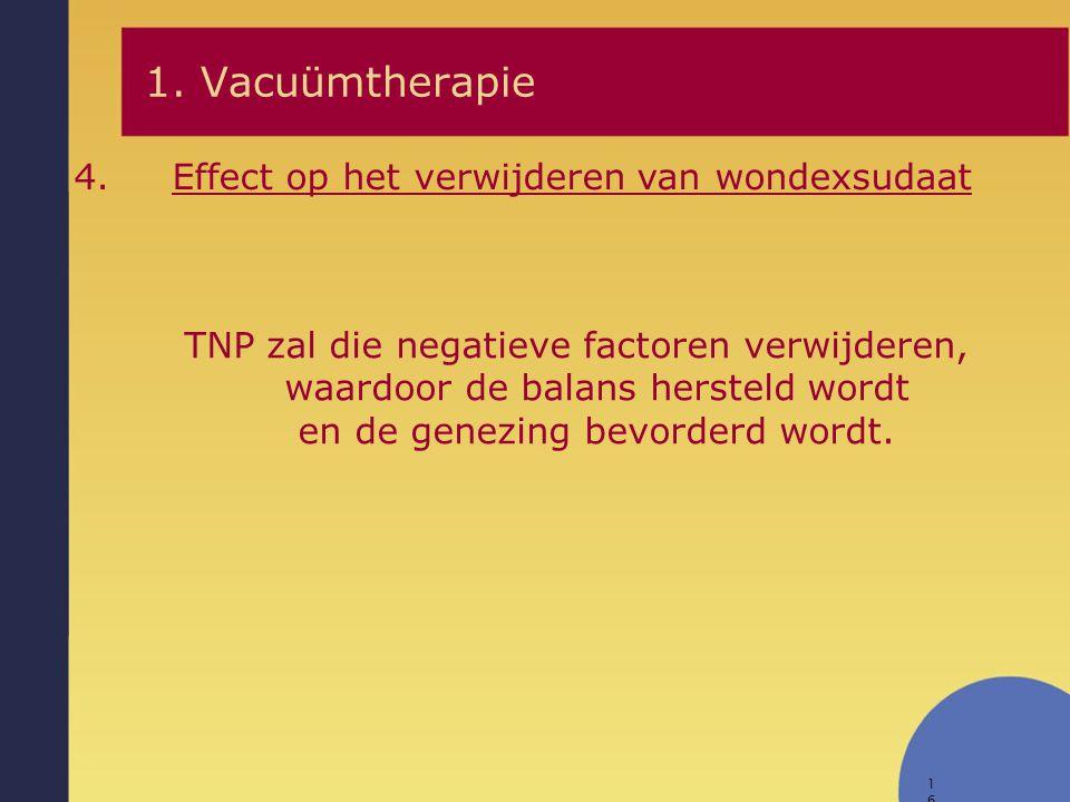 16 1. Vacuümtherapie 4.Effect op het verwijderen van wondexsudaat TNP zal die negatieve factoren verwijderen, waardoor de balans hersteld wordt en de