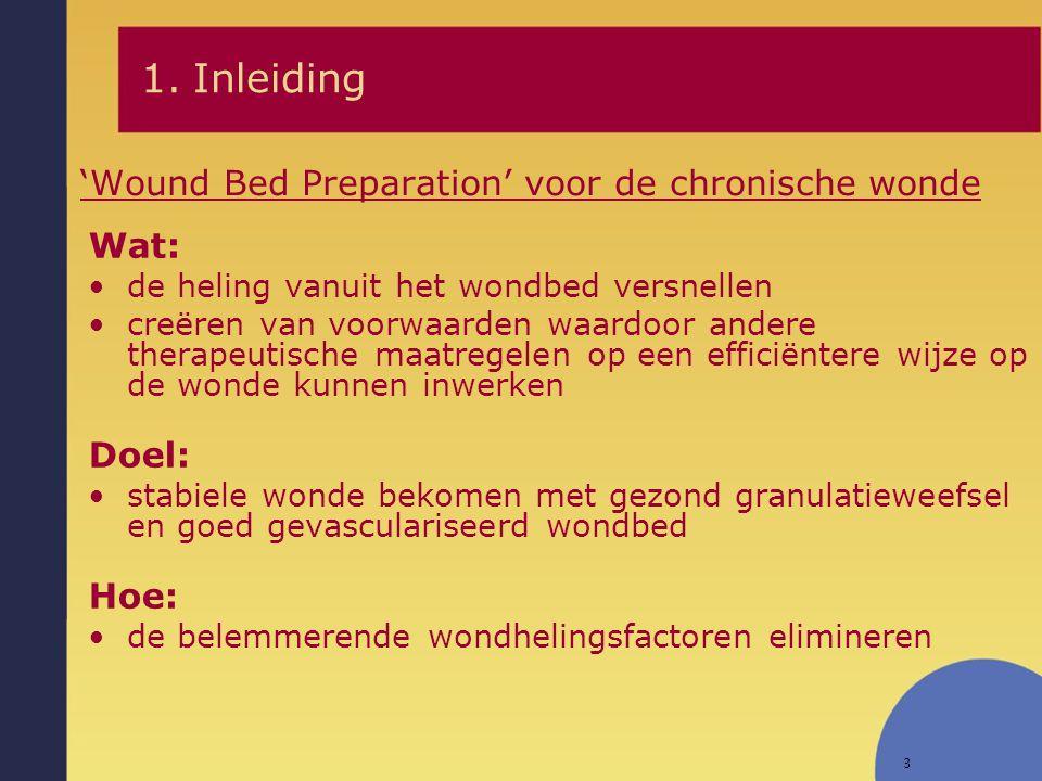 3 'Wound Bed Preparation' voor de chronische wonde Wat: de heling vanuit het wondbed versnellen creëren van voorwaarden waardoor andere therapeutische