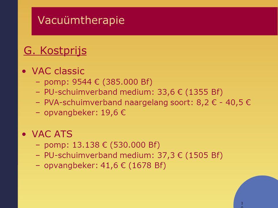 30 Vacuümtherapie G. Kostprijs VAC classic –pomp: 9544 € (385.000 Bf) –PU-schuimverband medium: 33,6 € (1355 Bf) –PVA-schuimverband naargelang soort:
