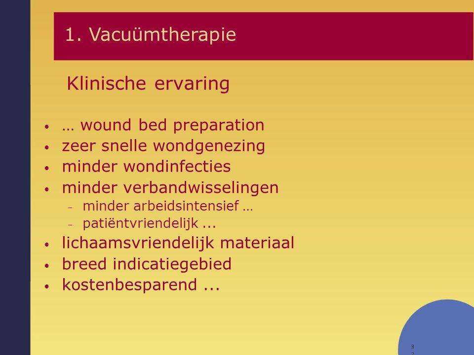 32 Klinische ervaring … wound bed preparation zeer snelle wondgenezing minder wondinfecties minder verbandwisselingen – minder arbeidsintensief … – pa