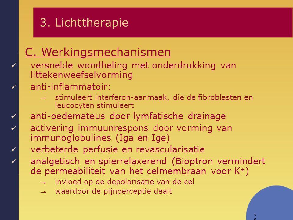 50 versnelde wondheling met onderdrukking van littekenweefselvorming anti-inflammatoir: → stimuleert interferon-aanmaak, die de fibroblasten en leucoc