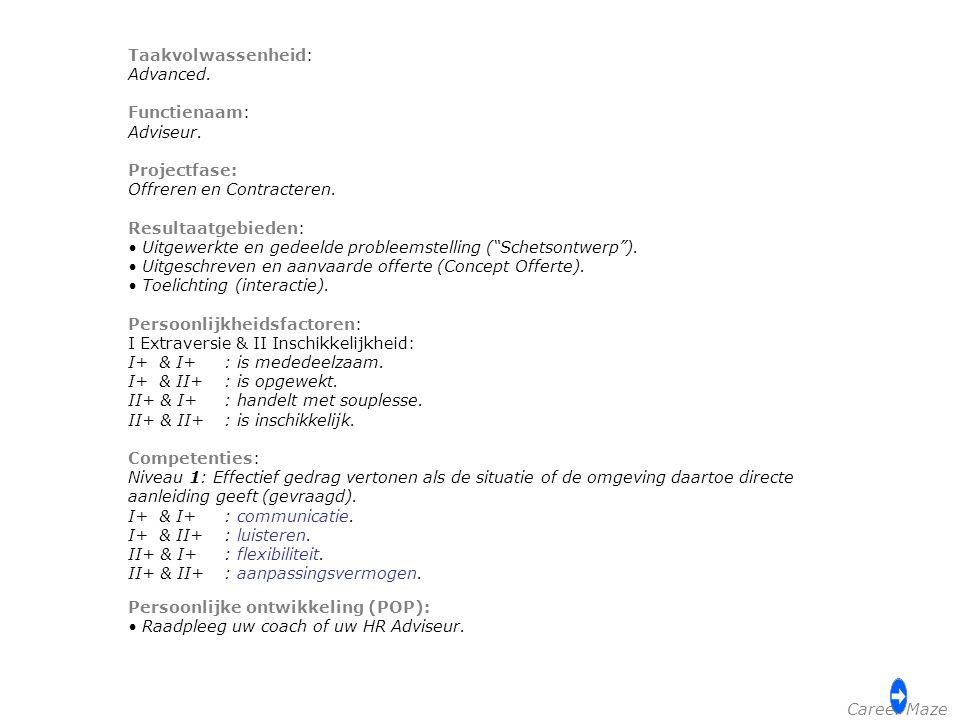 Taakvolwassenheid: Advanced. Functienaam: Adviseur. Projectfase: Offreren en Contracteren. Resultaatgebieden: Uitgewerkte en gedeelde probleemstelling