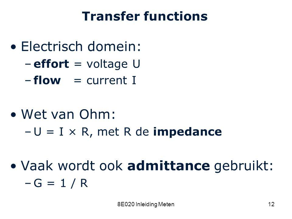 Cardiovascular Research Institute Maastricht (CARIM) 8E020 Inleiding Meten12 Transfer functions Electrisch domein: –effort = voltage U –flow = current