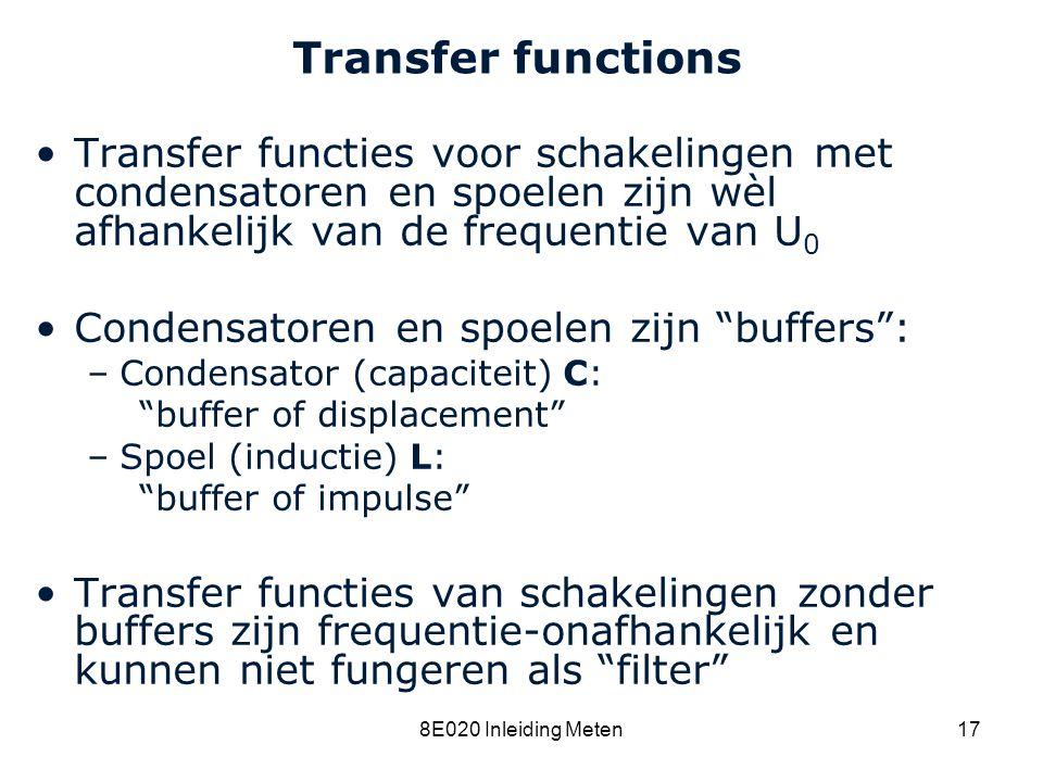 Cardiovascular Research Institute Maastricht (CARIM) 8E020 Inleiding Meten17 Transfer functions Transfer functies voor schakelingen met condensatoren