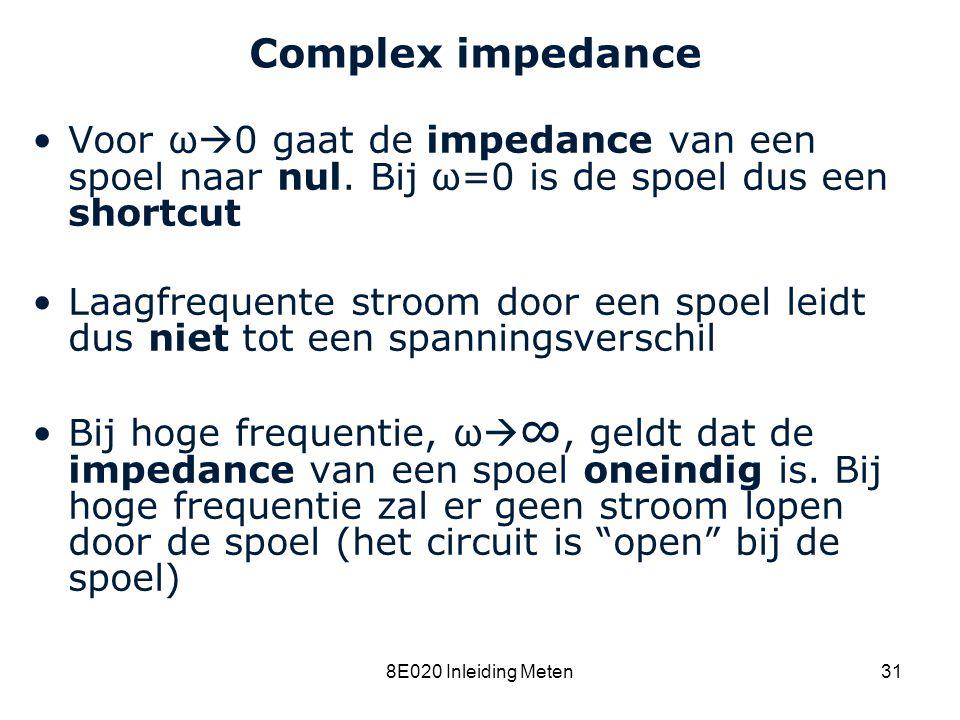 Cardiovascular Research Institute Maastricht (CARIM) 8E020 Inleiding Meten31 Complex impedance Voor ω  0 gaat de impedance van een spoel naar nul. Bi