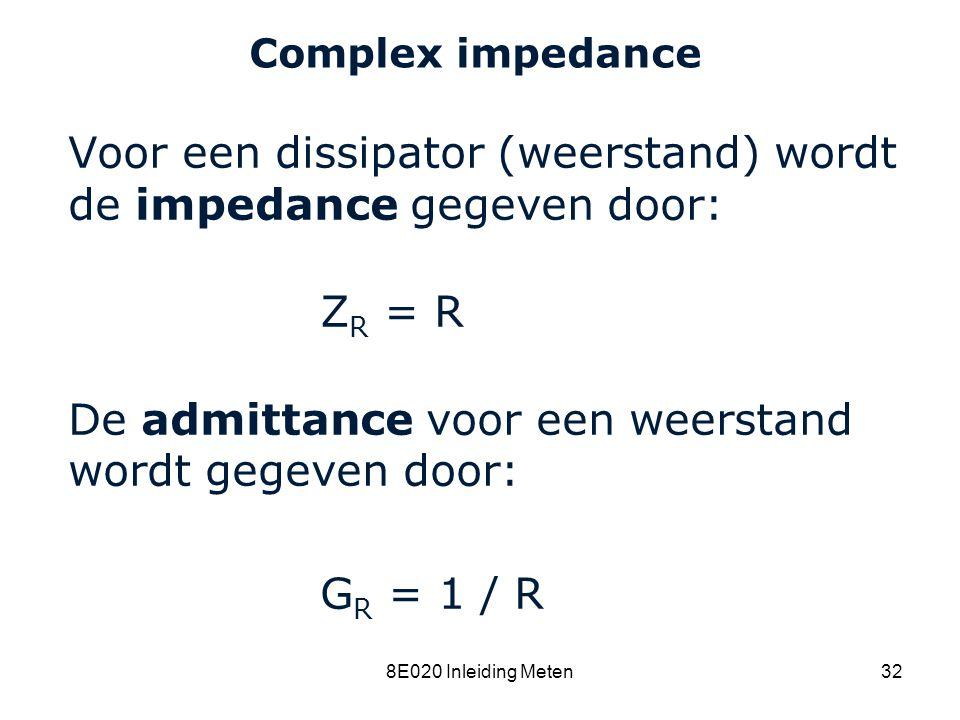 Cardiovascular Research Institute Maastricht (CARIM) 8E020 Inleiding Meten32 Complex impedance Voor een dissipator (weerstand) wordt de impedance gege