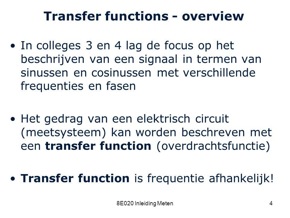 Cardiovascular Research Institute Maastricht (CARIM) 8E020 Inleiding Meten5 Transfer fuctions - overview Inleiding complexe getallen Transfer functies van schakelingen met alleen weerstanden zijn onafhankelijk van de frequentie Transfer functies van schakelingen met condensatoren en/of spoelen zijn frequentie- afhankelijk Definitie: complex impedance Frequentie-afhankelijke transfer functie wordt beschreven m.b.v.