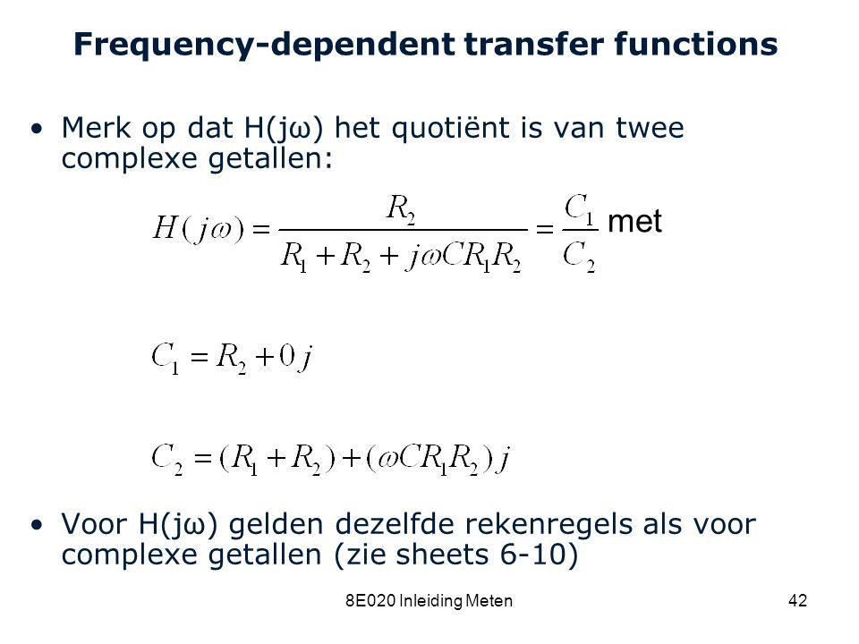 Cardiovascular Research Institute Maastricht (CARIM) 8E020 Inleiding Meten42 Frequency-dependent transfer functions Merk op dat H(jω) het quotiënt is