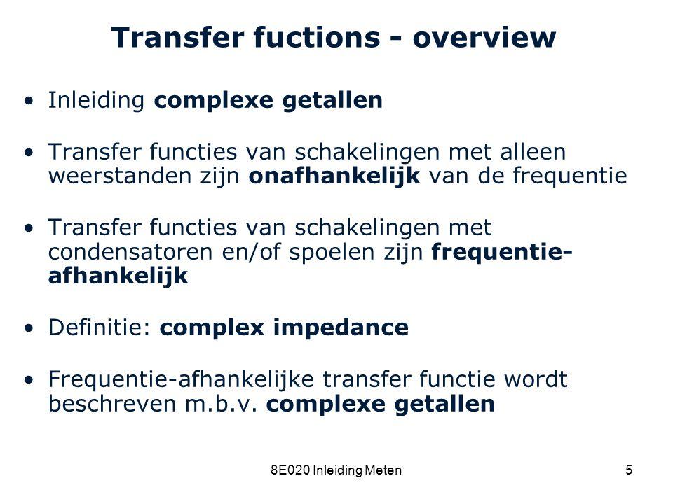 Cardiovascular Research Institute Maastricht (CARIM) 8E020 Inleiding Meten16 Transfer functions Voorbeeld: Transfer functie H = U 1 /U 0 is moeilijker te bepalen, maar het is niet onmogelijk (probeer dit zelf) R3R3 U0U0 U1U1 R1R1 R2R2 R4R4 R5R5 R6R6
