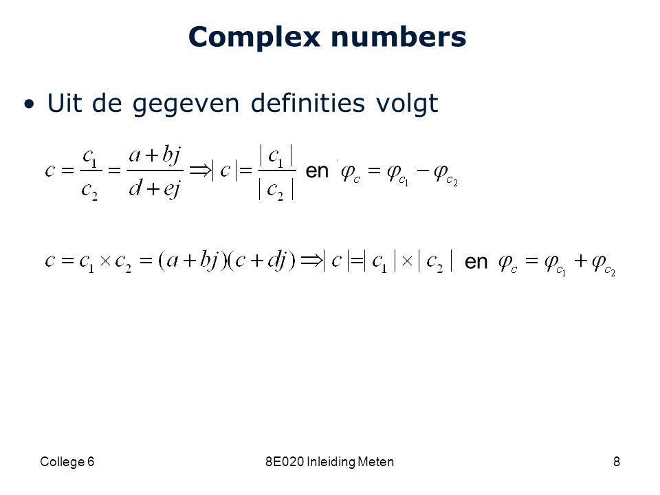 Cardiovascular Research Institute Maastricht (CARIM) 8E020 Inleiding Meten29 Complex impedance Voor een spoel geldt: –Als de stroom amplitude A heeft, dan heeft de spanning amplitude AωL –Als de stroom een cosinus is, dan loopt de spanning ½ π voor, ofwel de spoel introduceert een faseverschil van +½ π