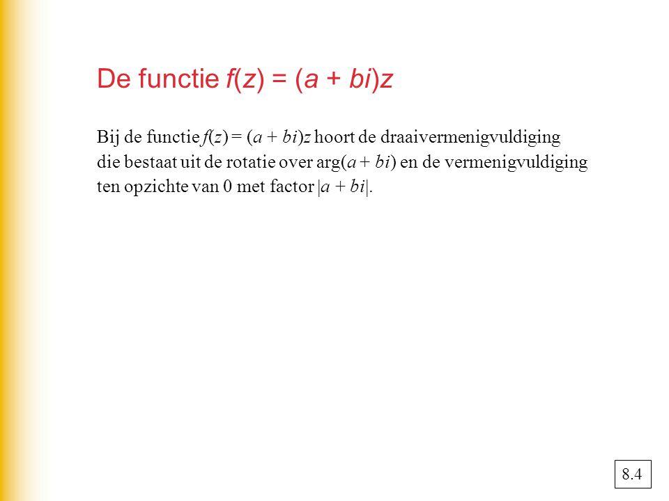 De functie f(z) = (a + bi)z Bij de functie f(z) = (a + bi)z hoort de draaivermenigvuldiging die bestaat uit de rotatie over arg(a + bi) en de vermenigvuldiging ten opzichte van 0 met factor  a + bi .