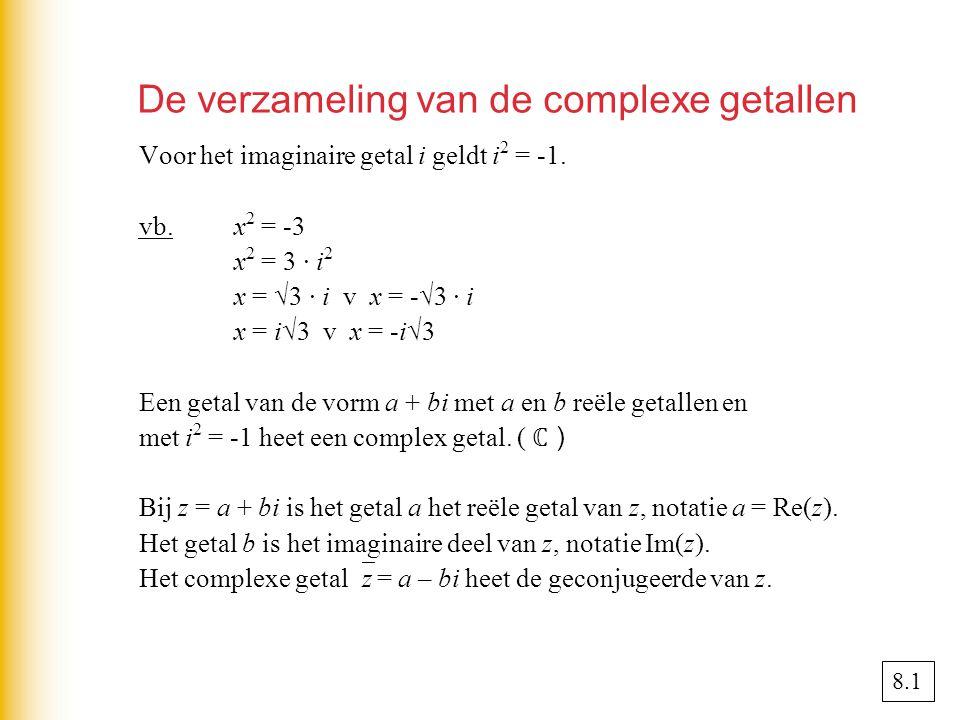 De verzameling van de complexe getallen Voor het imaginaire getal i geldt i 2 = -1.