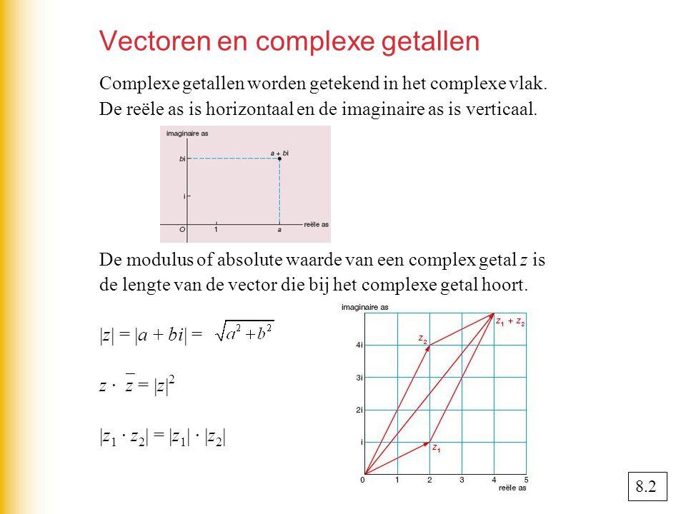 Vectoren en complexe getallen Complexe getallen worden getekend in het complexe vlak.