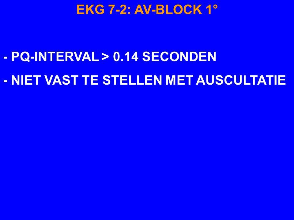 EKG 7-2 AV-BLOCK 1° P Q T P-Q INTERVAL > 0.14 SECONDEN