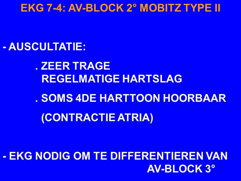 EKG 7-4: AV-BLOCK 2° MOBITZ TYPE II - MEER P-GOLVEN DAN QRS-T COMPLEXEN - EXTRA P-GOLVEN OP VOORSPELBARE TIJDSTIPPEN : AANTAL P-GOLVEN AANTAL QRS-COMP