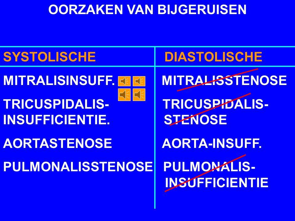 OORZAKEN VAN BIJGERUISEN SYSTOLISCHE DIASTOLISCHE VENTRIKEL SEPTUM- DEFECT ANEMIE FYSIOLOGISCHE CONTINU BIJGERUIS PERSISTERENDE DUCTUS ARTERIOSUS BOTA