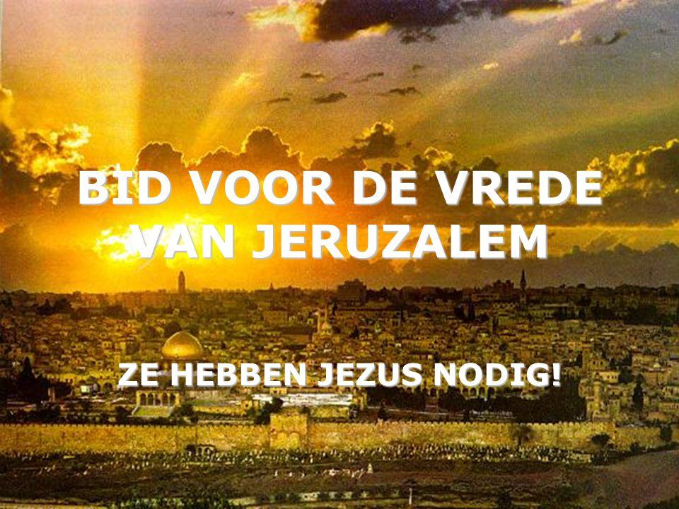BID VOOR DE VREDE VAN JERUZALEM ZE HEBBEN JEZUS NODIG!