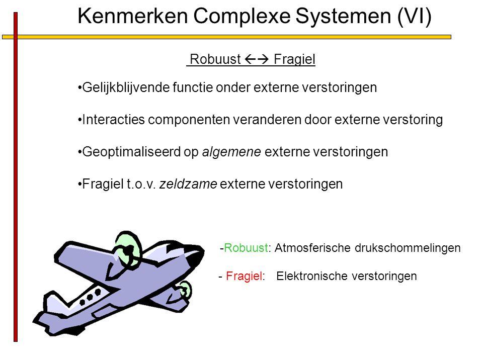 Kenmerken Complexe Systemen (VI) Robuust  Fragiel Gelijkblijvende functie onder externe verstoringen Interacties componenten veranderen door externe verstoring Geoptimaliseerd op algemene externe verstoringen Fragiel t.o.v.