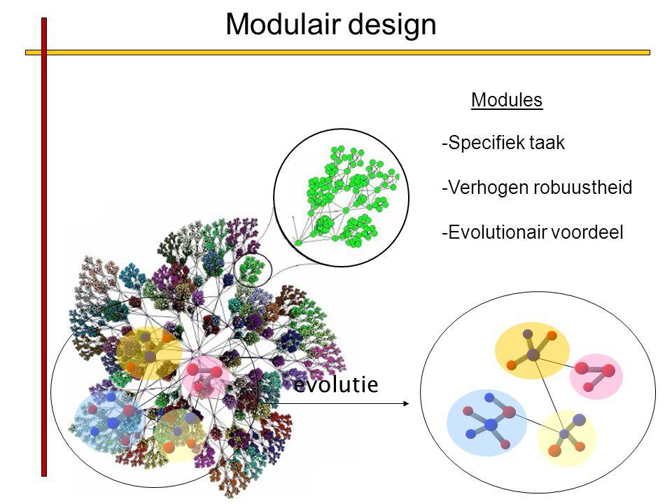 -Specifiek taak -Verhogen robuustheid -Evolutionair voordeel Modules Modulair design evolutie