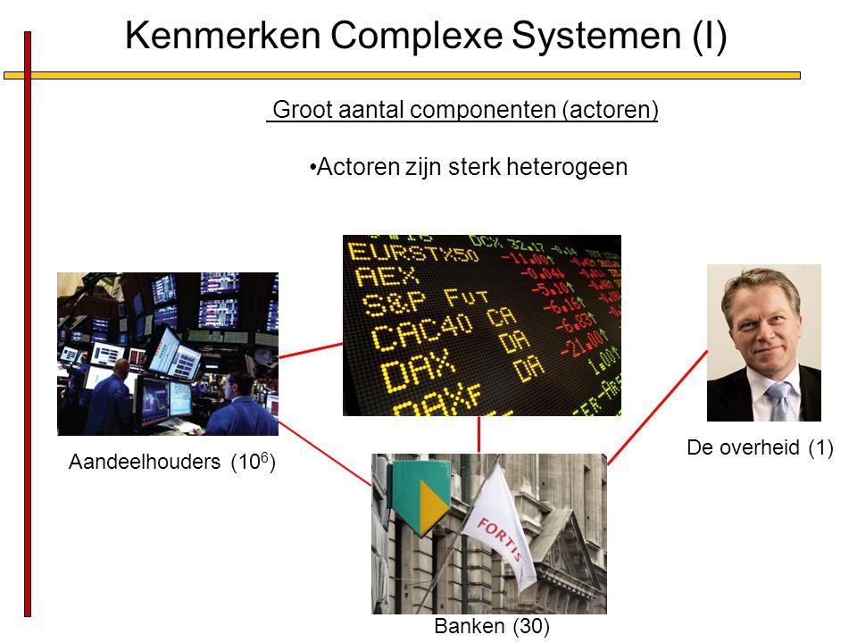 Kenmerken Complexe Systemen (II) Veelvoud van interacties Zwakke en sterke interacties Interacties zijn dynamisch, d.w.z.