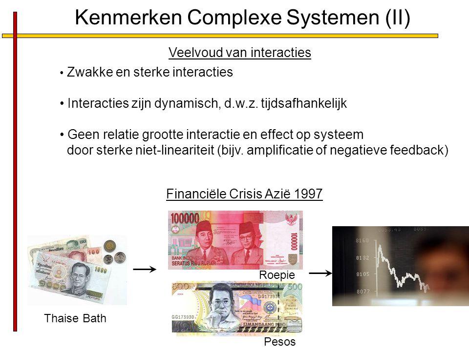 Kenmerken Complexe Systemen (II) Veelvoud van interacties Zwakke en sterke interacties Interacties zijn dynamisch, d.w.z. tijdsafhankelijk Geen relati