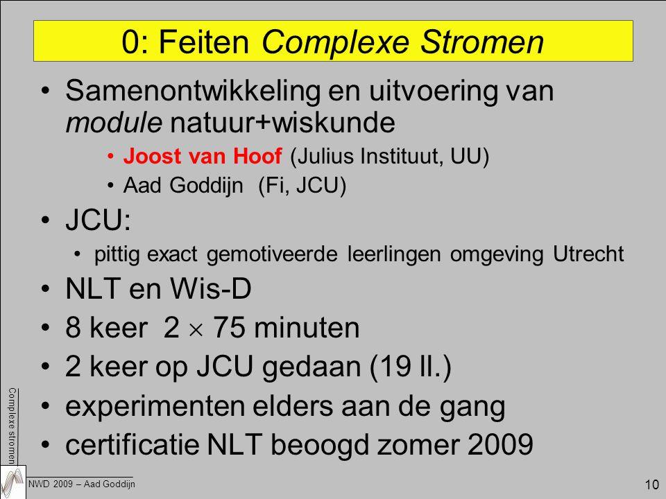 Complexe stromen NWD 2009 – Aad Goddijn 10 0: Feiten Complexe Stromen Samenontwikkeling en uitvoering van module natuur+wiskunde Joost van Hoof (Julius Instituut, UU) Aad Goddijn (Fi, JCU) JCU: pittig exact gemotiveerde leerlingen omgeving Utrecht NLT en Wis-D 8 keer 2  75 minuten 2 keer op JCU gedaan (19 ll.) experimenten elders aan de gang certificatie NLT beoogd zomer 2009
