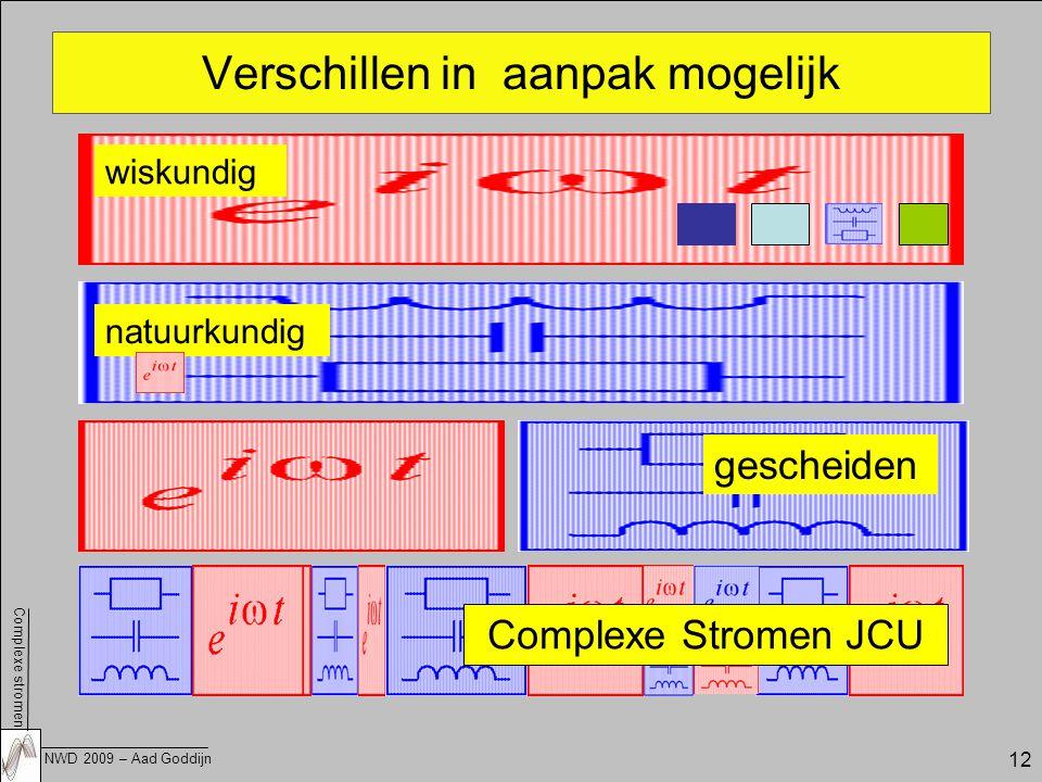 Complexe stromen NWD 2009 – Aad Goddijn 12 Verschillen in aanpak mogelijk wiskundig natuurkundig gescheiden Complexe Stromen JCU