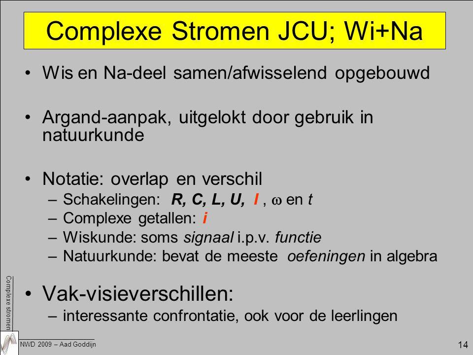 Complexe stromen NWD 2009 – Aad Goddijn 14 Wis en Na-deel samen/afwisselend opgebouwd Argand-aanpak, uitgelokt door gebruik in natuurkunde Notatie: overlap en verschil –Schakelingen: R, C, L, U, I,  en t –Complexe getallen: i –Wiskunde: soms signaal i.p.v.