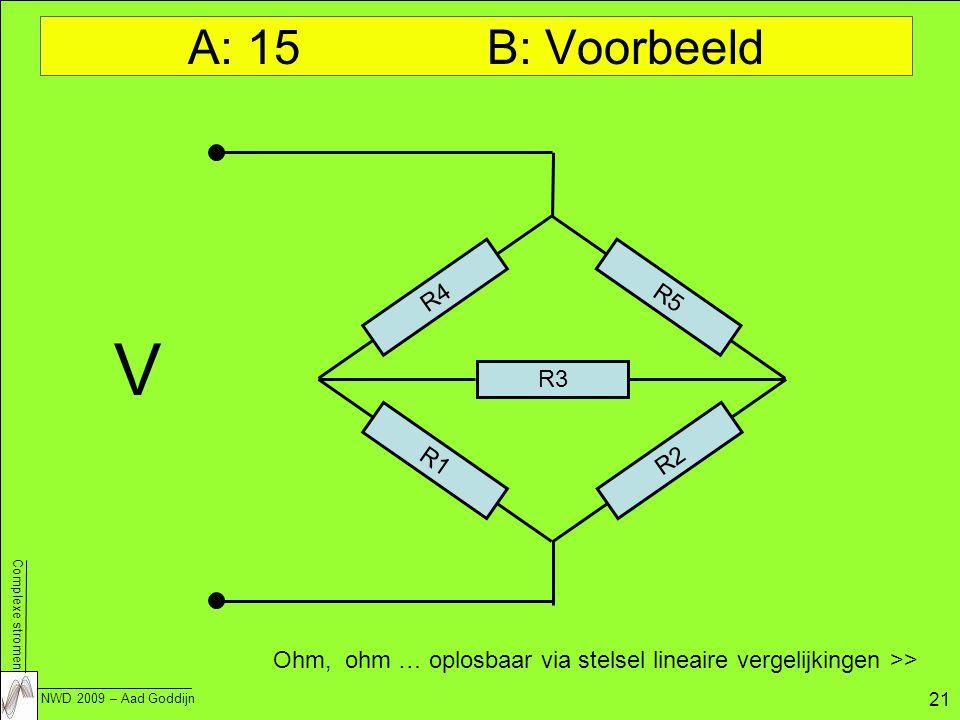 Complexe stromen NWD 2009 – Aad Goddijn 21 A: 15 B: Voorbeeld R1 R3 R5 R4 R2 V Ohm, ohm … oplosbaar via stelsel lineaire vergelijkingen >>