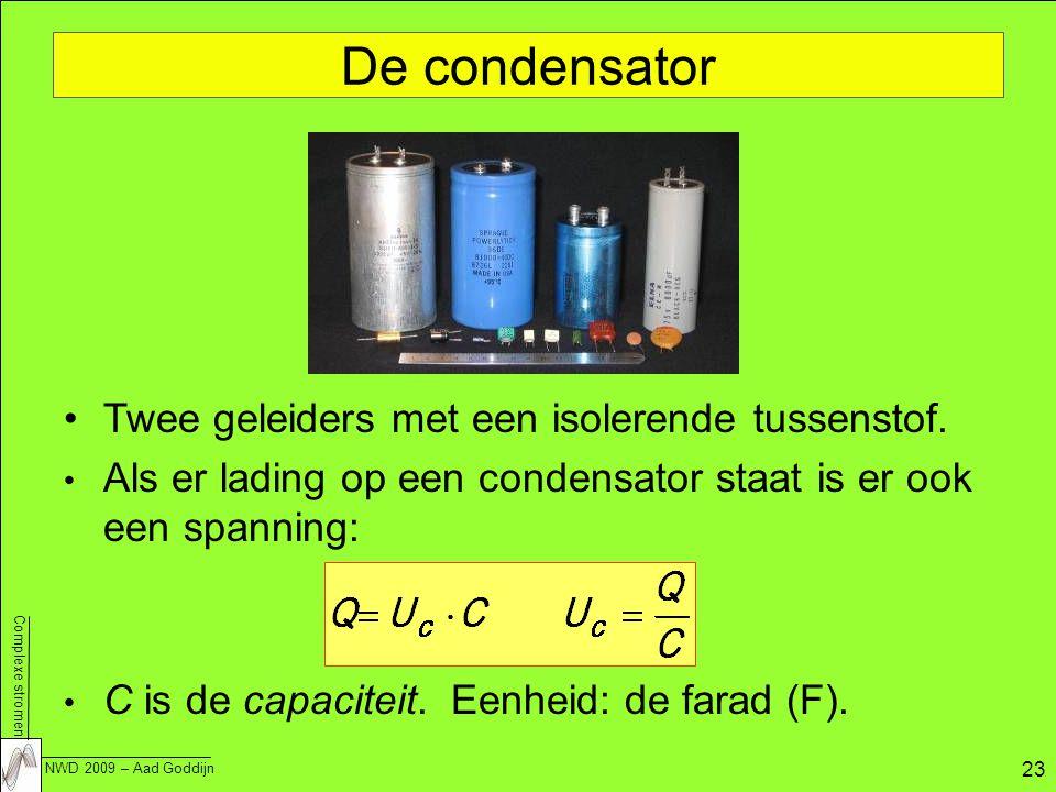 Complexe stromen NWD 2009 – Aad Goddijn 23 De condensator Twee geleiders met een isolerende tussenstof.