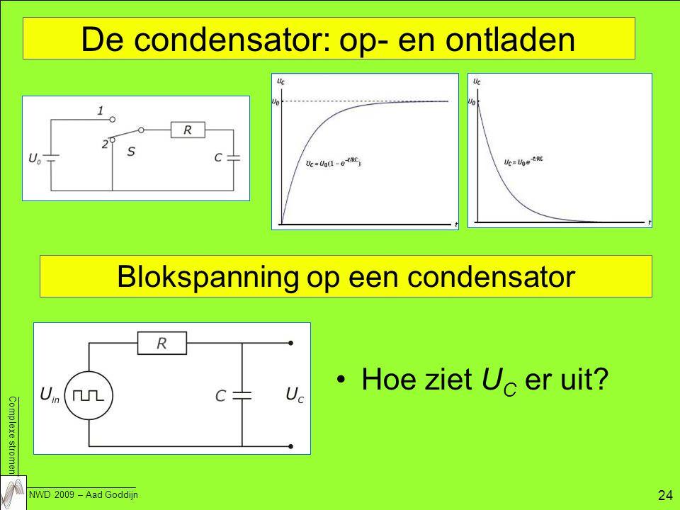 Complexe stromen NWD 2009 – Aad Goddijn 24 De condensator: op- en ontladen Blokspanning op een condensator Hoe ziet U C er uit?