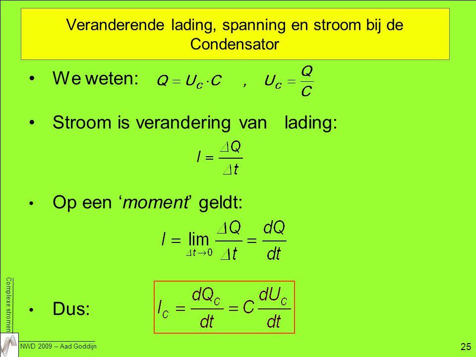 Complexe stromen NWD 2009 – Aad Goddijn 25 Veranderende lading, spanning en stroom bij de Condensator We weten: Stroom is verandering van lading: Op een 'moment' geldt: Dus: