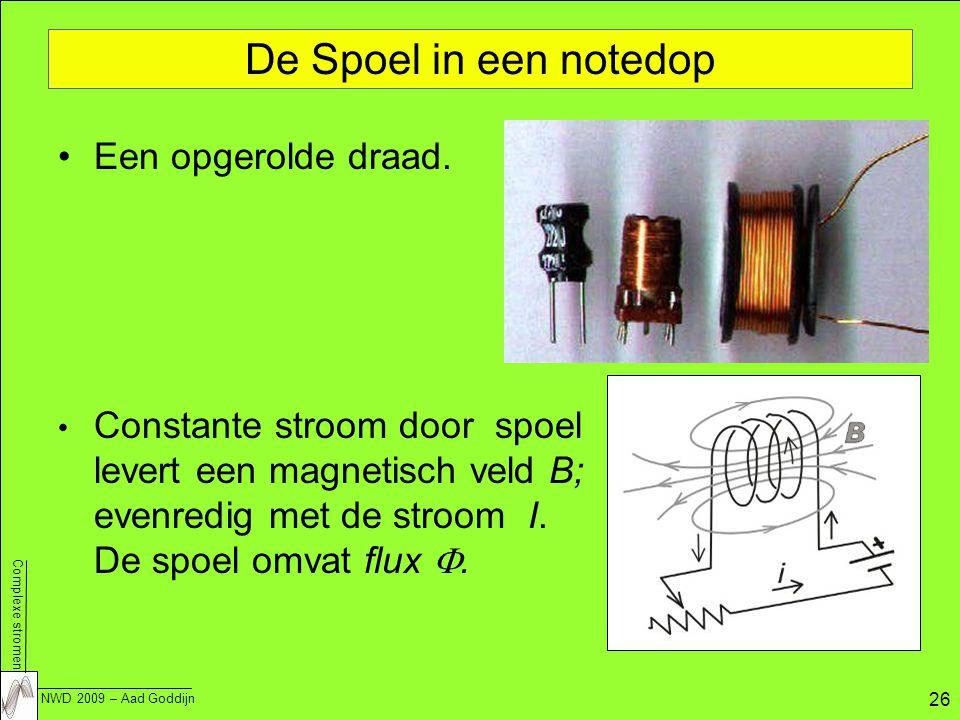 Complexe stromen NWD 2009 – Aad Goddijn 26 De Spoel in een notedop Een opgerolde draad.