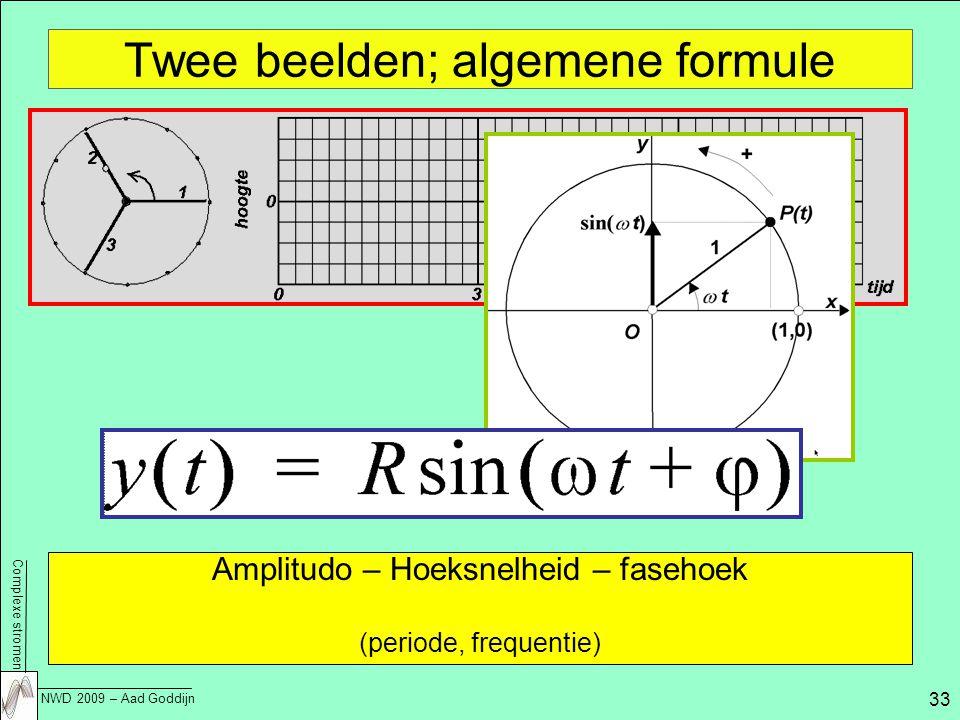 Complexe stromen NWD 2009 – Aad Goddijn 33 Twee beelden; algemene formule Amplitudo – Hoeksnelheid – fasehoek (periode, frequentie)