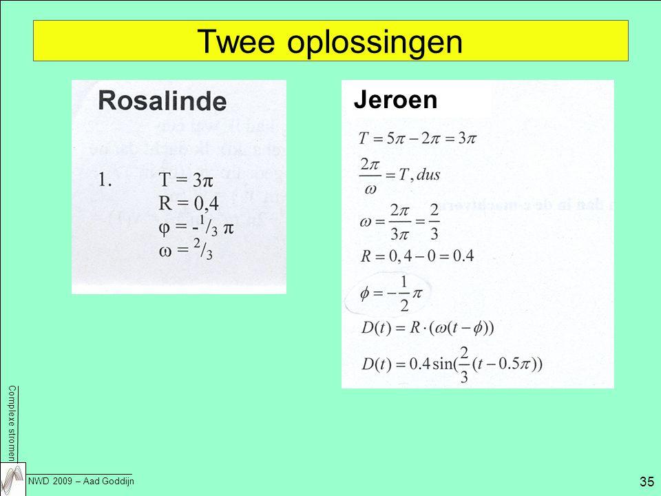Complexe stromen NWD 2009 – Aad Goddijn 35 Twee oplossingen Jeroen