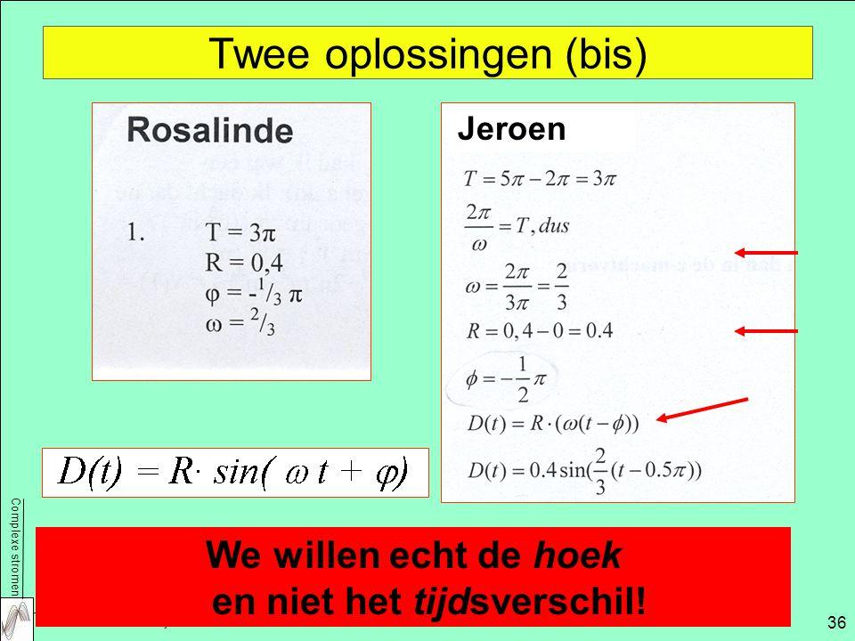 Complexe stromen NWD 2009 – Aad Goddijn 36 Twee oplossingen (bis) We willen echt de hoek en niet het tijdsverschil.