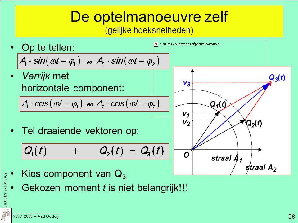Complexe stromen NWD 2009 – Aad Goddijn 38 De optelmanoeuvre zelf (gelijke hoeksnelheden) Op te tellen: Verrijk met horizontale component: Tel draaiende vektoren op: Kies component van Q 3.