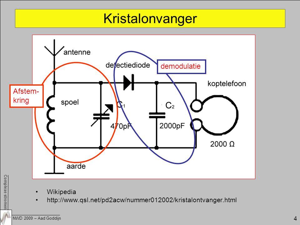 Complexe stromen NWD 2009 – Aad Goddijn 4 Kristalonvanger Wikipedia http://www.qsl.net/pd2acw/nummer012002/kristalontvanger.html Afstem- kring demodulatie