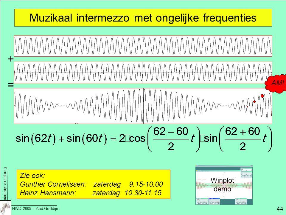Complexe stromen NWD 2009 – Aad Goddijn 44 Muzikaal intermezzo met ongelijke frequenties Zie ook: Gunther Cornelissen: zaterdag 9.15-10.00 Heinz Hansmann: zaterdag 10.30-11.15 Winplot demo + = AM!