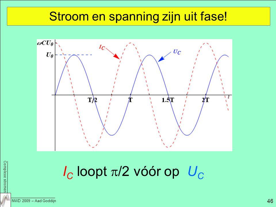 Complexe stromen NWD 2009 – Aad Goddijn 46 Stroom en spanning zijn uit fase.