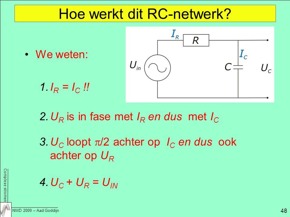 Complexe stromen NWD 2009 – Aad Goddijn 48 Hoe werkt dit RC-netwerk.
