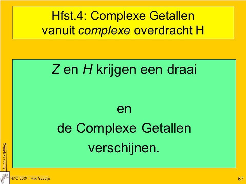 Complexe stromen NWD 2009 – Aad Goddijn 57 Hfst.4: Complexe Getallen vanuit complexe overdracht H Z en H krijgen een draai en de Complexe Getallen verschijnen.